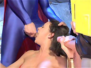 Wonder nymph inhales all the superheroes' hard-ons