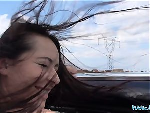 PublicAgent scorching black haired Russian ravaged on a car
