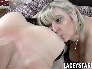 LACEYSTARR - two big-titted grandmas pleasing one fortunate man rod