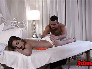 unbelievable Sydney Cole juggling on sausage after rubdown