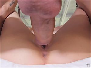 Kristy May slides fat trunk into her nice little snatch
