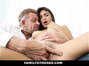 youthfull Latina sandwiched by step-dad and stepbro