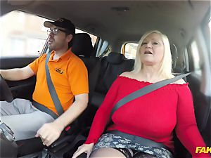 My 50 year elder mommy Lacey Starr gets her big pussy boned in the car