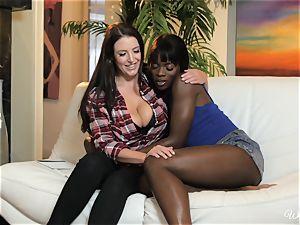 Ana Foxxx and Angela white enjoys bi-racial lezzy action