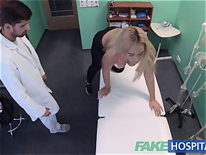 FakeHospital huge-titted Russian babe guzzles cumload