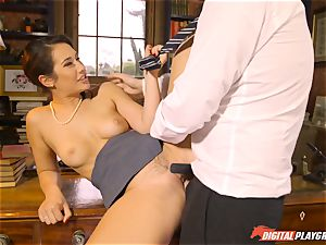 Headmistress Eva Lovia plays with her nasty student