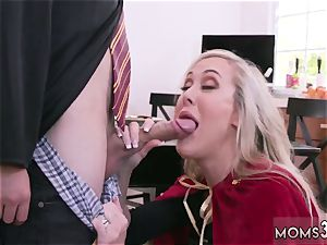 Mature mommy very first time Halloween exclusive With A three way