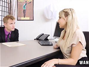 WANKZ - ultra-cute towheaded secretary pokes Her chief!