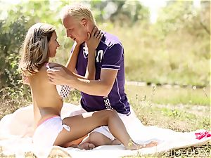 ash-blonde teenager jaw-dropping joy in the sun