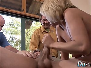 cougar deep throats & drills a guy While hotwife observes