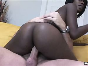 pinkish pussy tucked rear end style in a superb interracial