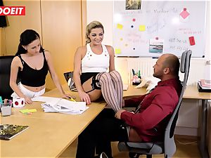 Stepdaughter joins dad in penetrating the office assistant