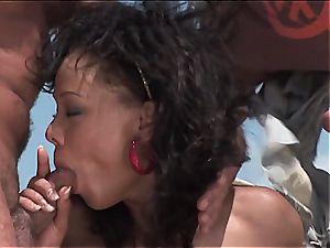 mischievous brazilian gal gets two fuck-sticks on the beach