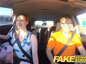 faux Driving college Nerdy redhead teen schoolgirl