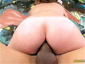 dark-haired Sam Summers riding enormous shaft