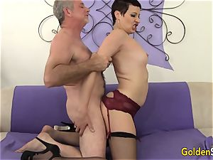 Mature tramp tempts a thick Dicked fellow